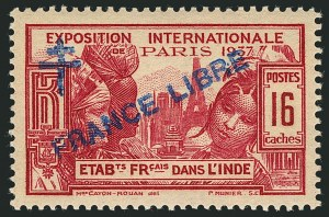 "Sale Number 1114, Lot Number 609, French IndiaFRENCH INDIA, 1942-43, 8ca-2fa12ca Paris Exposition with ""France Libre"" Overprint (177-181; Yvert 171-174, 183), FRENCH INDIA, 1942-43, 8ca-2fa12ca Paris Exposition with ""France Libre"" Overprint (177-181; Yvert 171-174, 183)"