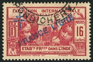 "Sale Number 1114, Lot Number 610, French IndiaFRENCH INDIA, 1942, 16ca Paris Exposition with ""France Libre"" Overprint (179; Yvert 172), FRENCH INDIA, 1942, 16ca Paris Exposition with ""France Libre"" Overprint (179; Yvert 172)"