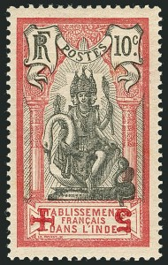 Sale Number 1114, Lot Number 613, French IndiaFRENCH INDIA, 1915-16, 10c+5c Red Cross Surcharges, Varieties (B1-B4 vars; Yvert 43a, 45a-45b, 47a, 47d-47de), FRENCH INDIA, 1915-16, 10c+5c Red Cross Surcharges, Varieties (B1-B4 vars; Yvert 43a, 45a-45b, 47a, 47d-47de)