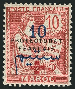 Sale Number 1114, Lot Number 616, French Morocco thru French Southern & Antarctic TerritoriesFRENCH MOROCCO, 1914, 10c+5c on 10c Rose, Carmine Surcharge (B5; Yvert 58), FRENCH MOROCCO, 1914, 10c+5c on 10c Rose, Carmine Surcharge (B5; Yvert 58)
