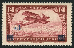 Sale Number 1114, Lot Number 617, French Morocco thru French Southern & Antarctic TerritoriesFRENCH MOROCCO, 1931, 1fr on 1.40fr Air Post, Inverted Surcharge (C12a; Yvert PA32a), FRENCH MOROCCO, 1931, 1fr on 1.40fr Air Post, Inverted Surcharge (C12a; Yvert PA32a)