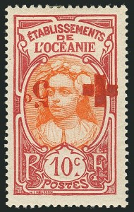 Sale Number 1114, Lot Number 619, French Morocco thru French Southern & Antarctic TerritoriesFRENCH OCEANIA, 1915, 10c+5c Rose & Orange, Inverted Surcharge (B2c; Yvert 40a), FRENCH OCEANIA, 1915, 10c+5c Rose & Orange, Inverted Surcharge (B2c; Yvert 40a)