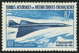 Sale Number 1114, Lot Number 623, French Morocco thru French Southern & Antarctic TerritoriesFRENCH SOUTHERN & ANTARCTIC TERRITORIES, 1969, 87fr Concorde, Unissued Value (C18 Footnote; Yvert PA19a), FRENCH SOUTHERN & ANTARCTIC TERRITORIES, 1969, 87fr Concorde, Unissued Value (C18 Footnote; Yvert PA19a)