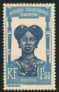 Sale Number 1114, Lot Number 630, French Sudan thru Indo-ChinaGABON, 1924-31, 15c Rose & Brown Violet, 1.50fr Pale Blue & Dark Blue, Overprint Omitted (92a, 108a; Yvert 116a, 119a), GABON, 1924-31, 15c Rose & Brown Violet, 1.50fr Pale Blue & Dark Blue, Overprint Omitted (92a, 108a; Yvert 116a, 119a)