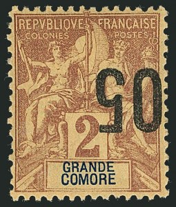 Sale Number 1114, Lot Number 632, French Sudan thru Indo-ChinaGRAND COMORO, 1912, 5c on 2c Brown on Buff, Inverted Surcharge (20a; Yvert 20b), GRAND COMORO, 1912, 5c on 2c Brown on Buff, Inverted Surcharge (20a; Yvert 20b)