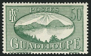 Sale Number 1114, Lot Number 634, French Sudan thru Indo-ChinaGUADELOUPE, 1928-40, 50c Green, Error of Color (110 var; Yvert 110a), GUADELOUPE, 1928-40, 50c Green, Error of Color (110 var; Yvert 110a)