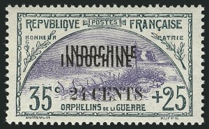 "Sale Number 1114, Lot Number 637, French Sudan thru Indo-ChinaINDO-CHINA, 1919, 24c on 35c+25c Orphans, Double ""Indochine"" Overprint (B10b; Yvert 92a), INDO-CHINA, 1919, 24c on 35c+25c Orphans, Double ""Indochine"" Overprint (B10b; Yvert 92a)"
