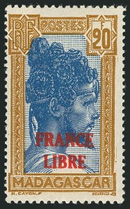 Sale Number 1114, Lot Number 647, Ivory Coast thru MadagascarMADAGASCAR, 1942, 20fr Yellow Brown & Dark Blue, France Libre Overprint (228; Yvert 255A), MADAGASCAR, 1942, 20fr Yellow Brown & Dark Blue, France Libre Overprint (228; Yvert 255A)