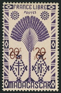 Sale Number 1114, Lot Number 648, Ivory Coast thru MadagascarMADAGASCAR, 1943, 20fr Dull Violet & Brown, Double Surcharge, One Inverted (254 var; Yvert 278a), MADAGASCAR, 1943, 20fr Dull Violet & Brown, Double Surcharge, One Inverted (254 var; Yvert 278a)