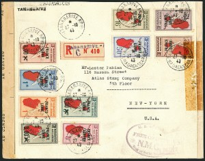 "Sale Number 1114, Lot Number 650, Ivory Coast thru MadagascarMADAGASCAR, 1942, 1.50fr-8fr on 8.50fr Air Posts ""France Libre"" Overprint (C27-C36; Yvert PA45-PA54), MADAGASCAR, 1942, 1.50fr-8fr on 8.50fr Air Posts ""France Libre"" Overprint (C27-C36; Yvert PA45-PA54)"