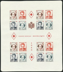 Sale Number 1114, Lot Number 678, MonacoMONACO, 1949, 10fr+5fr to 40fr+5fr Red Cross, Souvenir Sheets, Perforated and Imperforate (B99a var; Yvert  Bloc 3A, Bloc 3B), MONACO, 1949, 10fr+5fr to 40fr+5fr Red Cross, Souvenir Sheets, Perforated and Imperforate (B99a var; Yvert  Bloc 3A, Bloc 3B)