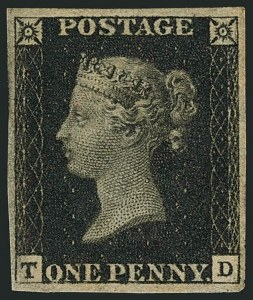 Sale Number 1114, Lot Number 787, Great BritainGREAT BRITAIN, 1840, 1p Black (1; SG 2), GREAT BRITAIN, 1840, 1p Black (1; SG 2)