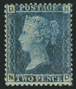 Sale Number 1114, Lot Number 796, Great BritainGREAT BRITAIN, 1858-69, 2p Blue (29a; SG 45), GREAT BRITAIN, 1858-69, 2p Blue (29a; SG 45)