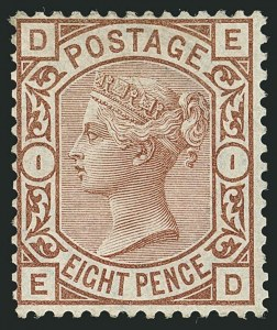 Sale Number 1114, Lot Number 802, Great BritainGREAT BRITAIN, 1876, 8p Brown Lilac (72; SG 156a), GREAT BRITAIN, 1876, 8p Brown Lilac (72; SG 156a)