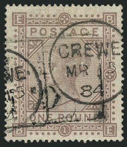 Sale Number 1114, Lot Number 803, Great BritainGREAT BRITAIN, 1882-83, £1 Brown Lilac (92a; SG 136), GREAT BRITAIN, 1882-83, £1 Brown Lilac (92a; SG 136)