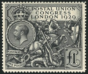 Sale Number 1114, Lot Number 809, Great BritainGREAT BRITAIN, 1929, £1 Black, Postal Congress (209; SG 438), GREAT BRITAIN, 1929, £1 Black, Postal Congress (209; SG 438)