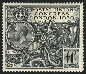 Sale Number 1114, Lot Number 810, Great BritainGREAT BRITAIN, 1929, £1 Black, Postal Congress (209; SG 438), GREAT BRITAIN, 1929, £1 Black, Postal Congress (209; SG 438)