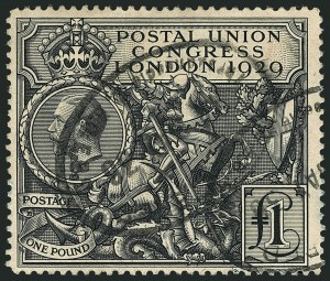 Sale Number 1114, Lot Number 811, Great BritainGREAT BRITAIN, 1929, £1 Black, Postal Congress (209; SG 438), GREAT BRITAIN, 1929, £1 Black, Postal Congress (209; SG 438)