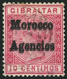 Sale Number 1114, Lot Number 814, Great BritainGREAT BRITAIN, OFFICES IN MOROCCO, 1898, 10c Carmine Rose, Double Overprint (2b; SG 2ea), GREAT BRITAIN, OFFICES IN MOROCCO, 1898, 10c Carmine Rose, Double Overprint (2b; SG 2ea)