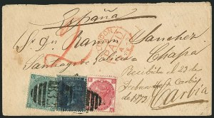 Sale Number 1114, Lot Number 816, Great Britain Used Abroad thru General British CommonwealthGREAT BRITAIN, Used in Argentina, 1860-73, 2p Blue, 3p Rose (Pl. 8), 1sh Green (Pl. 6) (A6, A9, A26; SG Z3, Z6, Z25), GREAT BRITAIN, Used in Argentina, 1860-73, 2p Blue, 3p Rose (Pl. 8), 1sh Green (Pl. 6) (A6, A9, A26; SG Z3, Z6, Z25)