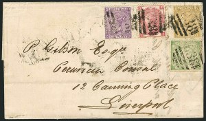 Sale Number 1114, Lot Number 819, Great Britain Used Abroad thru General British CommonwealthGREAT BRITAIN, Used in Peru, 1868, 1d Green (14), GREAT BRITAIN, Used in Peru, 1868, 1d Green (14)