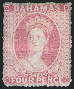 Sale Number 1114, Lot Number 855, Bahamas thru BushireBAHAMAS, 1861, 4p Dull Rose (3; SG 5), BAHAMAS, 1861, 4p Dull Rose (3; SG 5)