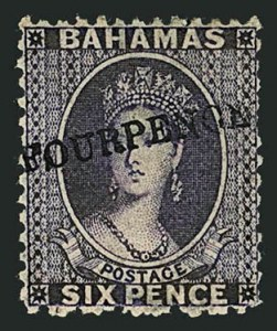 "Sale Number 1114, Lot Number 856, Bahamas thru BushireBAHAMAS, 1883, ""Four Pence"" on 6p Violet, Reversed Watermark (26 var; SG 45x), BAHAMAS, 1883, ""Four Pence"" on 6p Violet, Reversed Watermark (26 var; SG 45x)"