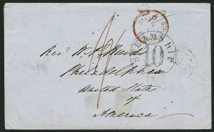Sale Number 1114, Lot Number 857, Bahamas thru BushireBARBADOS, 1849, Crowned Circle Handstamp in Red (A1; SG CC1), BARBADOS, 1849, Crowned Circle Handstamp in Red (A1; SG CC1)
