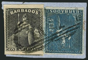 Sale Number 1114, Lot Number 858, Bahamas thru BushireBARBADOS, 1859, 1sh Black Imperf, 1p Blue Pin-Perf 14 (9, 11; SG 12a, 14), BARBADOS, 1859, 1sh Black Imperf, 1p Blue Pin-Perf 14 (9, 11; SG 12a, 14)