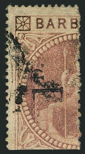 Sale Number 1114, Lot Number 861, Bahamas thru BushireBARBADOS, 1878, 1p on Half of 5sh Dull Rose, Small Surcharge (59; SG 88), BARBADOS, 1878, 1p on Half of 5sh Dull Rose, Small Surcharge (59; SG 88)