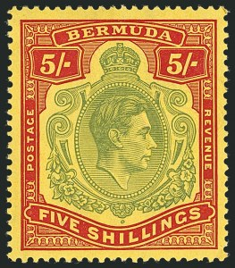 Sale Number 1114, Lot Number 863, Bahamas thru BushireBERMUDA, 1939, 5sh Pale Green & Red on Yellow, Perf 14 (125a var; SG 118a), BERMUDA, 1939, 5sh Pale Green & Red on Yellow, Perf 14 (125a var; SG 118a)