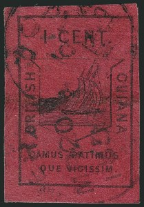 Sale Number 1114, Lot Number 865, Bahamas thru BushireBRITISH GUIANA, 1852, 1c Black on Magenta (6; SG 9), BRITISH GUIANA, 1852, 1c Black on Magenta (6; SG 9)