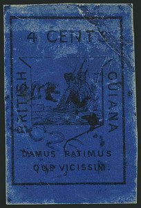 Sale Number 1114, Lot Number 866, Bahamas thru BushireBRITISH GUIANA, 1852, 4c Black on Blue (7; SG 10), BRITISH GUIANA, 1852, 4c Black on Blue (7; SG 10)