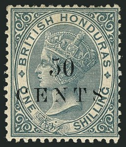 Sale Number 1114, Lot Number 867, Bahamas thru BushireBRITISH HONDURAS, 1888, 50c on 1sh Gray (25; SG 30), BRITISH HONDURAS, 1888, 50c on 1sh Gray (25; SG 30)