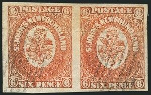Sale Number 1114, Lot Number 888, Canadian Provinces - Newfoundland thru Prince Edward IslandNEWFOUNDLAND, 1860, 6p Orange (13; SG 14), NEWFOUNDLAND, 1860, 6p Orange (13; SG 14)