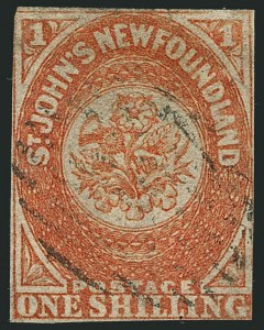 Sale Number 1114, Lot Number 889, Canadian Provinces - Newfoundland thru Prince Edward IslandNEWFOUNDLAND, 1860, 1sh Orange, Papermaker's Watermark (15; SG 15; Unitrade 15i), NEWFOUNDLAND, 1860, 1sh Orange, Papermaker's Watermark (15; SG 15; Unitrade 15i)