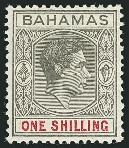 Sale Number 1114, Lot Number 89, Bahamas thru Bechuanaland ProtectorateBAHAMAS, 1941, 1sh Black & Scarlet on Thin Striated Paper (110d; SG 155), BAHAMAS, 1941, 1sh Black & Scarlet on Thin Striated Paper (110d; SG 155)