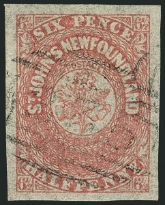 Sale Number 1114, Lot Number 890, Canadian Provinces - Newfoundland thru Prince Edward IslandNEWFOUNDLAND, 1861, 6-1/2p Rose (21; SG 21), NEWFOUNDLAND, 1861, 6-1/2p Rose (21; SG 21)