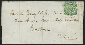 Sale Number 1114, Lot Number 899, Canadian Provinces - Newfoundland thru Prince Edward IslandNOVA SCOTIA, 1851, 6p Yellow Green (4; SG 5), NOVA SCOTIA, 1851, 6p Yellow Green (4; SG 5)