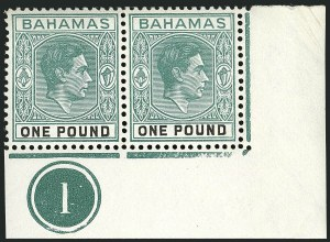 Sale Number 1114, Lot Number 90, Bahamas thru Bechuanaland ProtectorateBAHAMAS, 1944, £1 Gray Green & Black, Ordinary Paper (113b; SG 157b), BAHAMAS, 1944, £1 Gray Green & Black, Ordinary Paper (113b; SG 157b)