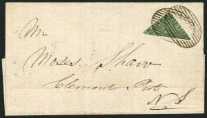 Sale Number 1114, Lot Number 900, Canadian Provinces - Newfoundland thru Prince Edward IslandNOVA SCOTIA, 1851, 6p Yellow Green, Diagonal Half Used as 3c (4a; SG 5a), NOVA SCOTIA, 1851, 6p Yellow Green, Diagonal Half Used as 3c (4a; SG 5a)