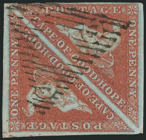 Sale Number 1114, Lot Number 938, Cape of Good Hope incl. MafekingCAPE OF GOOD HOPE, 1853, 1p Deep Brick Red on Deeply Blued Paper (1b; SG 1a), CAPE OF GOOD HOPE, 1853, 1p Deep Brick Red on Deeply Blued Paper (1b; SG 1a)