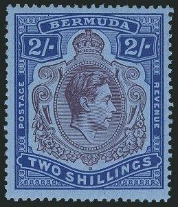 Sale Number 1114, Lot Number 95, Bermuda (by Gibbons) thru British HondurasBERMUDA, 1940, 2sh Deep Reddish Purple & Ultramarine on Gray Blue (SG 116a), BERMUDA, 1940, 2sh Deep Reddish Purple & Ultramarine on Gray Blue (SG 116a)