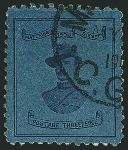 Sale Number 1114, Lot Number 950, Cape of Good Hope incl. MafekingCAPE OF GOOD HOPE, MAFEKING, 1900, 3p Blue on Blue, Baden-Powell (179; SG 20), CAPE OF GOOD HOPE, MAFEKING, 1900, 3p Blue on Blue, Baden-Powell (179; SG 20)