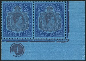 Sale Number 1114, Lot Number 97, Bermuda (by Gibbons) thru British HondurasBERMUDA, 1942, 2sh Purple & Blue on Deep Blue, Broken Lower Right Scroll (SG 116ce), BERMUDA, 1942, 2sh Purple & Blue on Deep Blue, Broken Lower Right Scroll (SG 116ce)