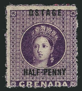 "Sale Number 1114, Lot Number 979, Fiji thru Hong KongGRENADA, 1881, -1/2p Purple, ""OSTAGE"" Variety, Upright Wmk. (8a var; SG 21g), GRENADA, 1881, -1/2p Purple, ""OSTAGE"" Variety, Upright Wmk. (8a var; SG 21g)"