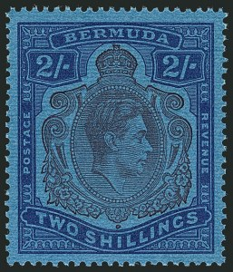 Sale Number 1114, Lot Number 98, Bermuda (by Gibbons) thru British HondurasBERMUDA, 1942, 2sh Purple & Blue on Deep Blue, Gash on Chin (SG 116cf), BERMUDA, 1942, 2sh Purple & Blue on Deep Blue, Gash on Chin (SG 116cf)