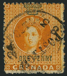 Sale Number 1114, Lot Number 980, Fiji thru Hong KongGRENADA, 1883, -1/2p Orange & Green, Unsevered Pair (15a; SG 29a), GRENADA, 1883, -1/2p Orange & Green, Unsevered Pair (15a; SG 29a)