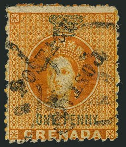 Sale Number 1114, Lot Number 981, Fiji thru Hong KongGRENADA, 1883, -1/2p Orange & Green, Unsevered Pair (15a; SG 29a), GRENADA, 1883, -1/2p Orange & Green, Unsevered Pair (15a; SG 29a)