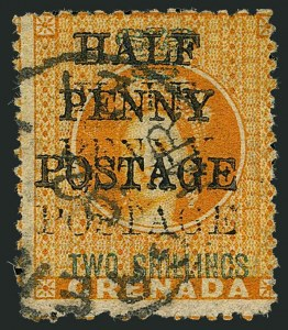 Sale Number 1114, Lot Number 982, Fiji thru Hong KongGRENADA, 1888, -1/2p on 2sh Orange & Green, Double Surcharge (31a; SG 43a), GRENADA, 1888, -1/2p on 2sh Orange & Green, Double Surcharge (31a; SG 43a)